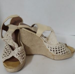 Lucky Brand Crocheted Wedges,  8.5